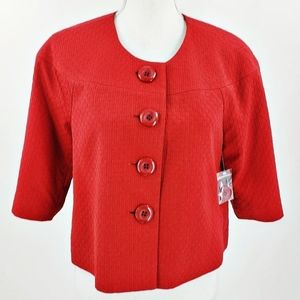 Madison Red Jacket New 6 Mod Buttons Leopard Lined